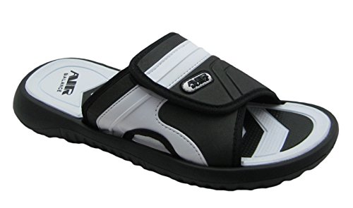 Adjustable Strap Comfortable Shower Beach Sandal Slippers in Classy Colors for Men (8 D(M) US, Black/White)