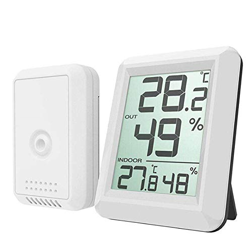 Weather Thermometer Indoor Outdoor, MeiLiio Digital LCD Wireless Weather Thermometer Hygrometer Station Indoor Outdoor Monitor with Transmitter for Home and Office (Remote Sensor Weather Thermometer)