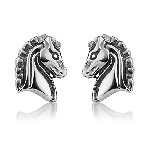 - 925 Oxidized Sterling Silver Vintage Little Detailed Horse Head Post Stud Earrings 11 mm