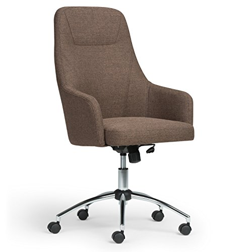 Simpli Home AXCOCHR-04 Jules Swivel Adjustable Executive Computer Office Chair in Chocolate Brown Linen Look Fabric