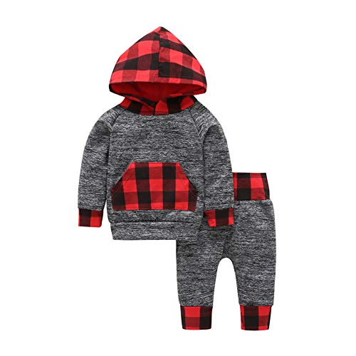 Infant Boys 1 Pc Outfit - Baorong 2 Pcs Toddler Boys Girls Long Sleeve Gray Grid Hooded Sweatshirt Trouser Clothes Outfits 0-6 Months