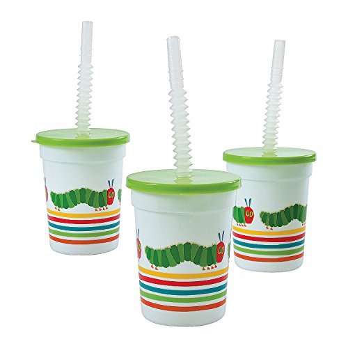 Fun Express - Very Hungry Caterpillar Tumbler W Lid for Birthday - Party Supplies - Drinkware - Sipper & Molded Cups - Birthday - 8 Pieces