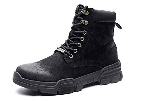 Mens Martin Boots Autunno Inverno Punta Rotonda Lace Up Warm Stivali Da Combattimento Tendenza Britannica,Black,41EU
