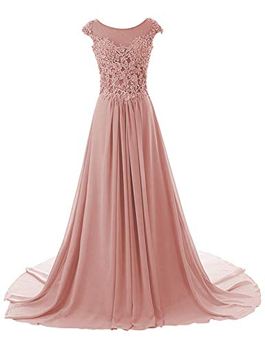 Prom Dresses Long Evening Gowns Lace Bridesmaid Dress Chiffon Prom Dress Cap Sleeve Blush US24W