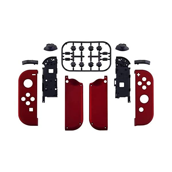 eXtremeRate Soft Touch Grip Red Joycon Handheld Controller Housing with Full Set Buttons, DIY Replacement Shell Case for Nintendo Switch Joy-Con – Console Shell NOT Included 2