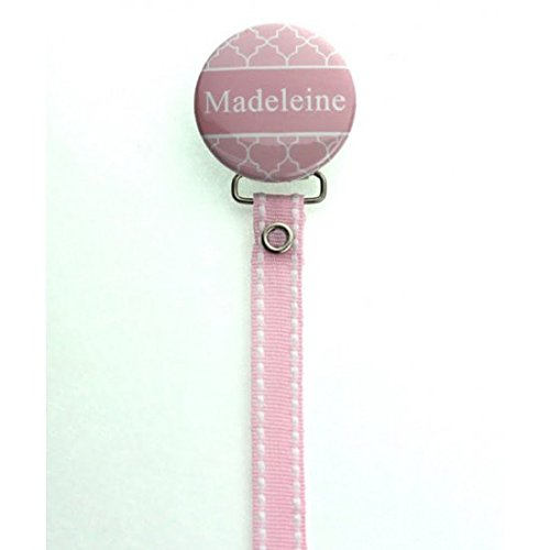 Crystal Dream Personalized Name Pink Moroccan Tile Pacifier Clip with Matching Ribbon 8 Inch (RPER55)