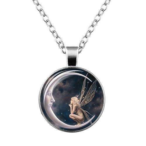 yemei Fairy in Moon Photo Necklace Angel on Moon Art Photo Glass Cabochon Pendant Necklace Fashion Jewelry Chain Necklace,Halloween, Cocktail Party, Nightclub Costume Party ()