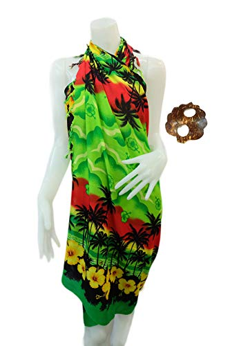 Twilight Beachwear Cover up Bathing Wrap Swimwear Swimsuit Women Pareo Sarong and Unique Design Coconut Shell Brooch (Green)