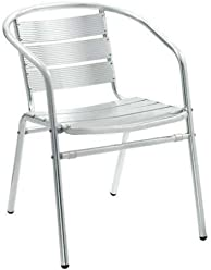 Luna Outdoor Aluminum Chair With Arms   Lot Of 4