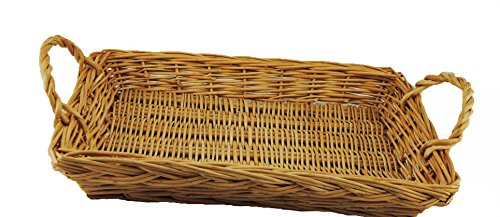 TOPOT Rectangle Willow Tray w/Ear Handles with receiving small (Willow Bike Baskets)