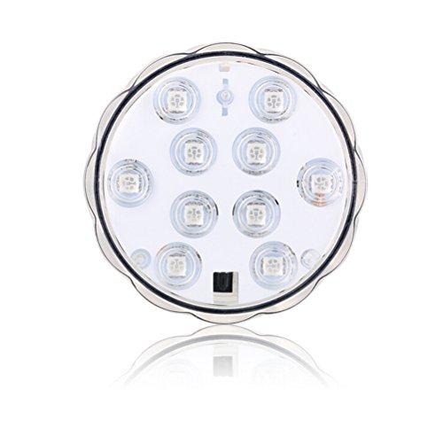 LEDMOMO Unterwasser-LED-Licht, 10-LED RGB Wasserdichte batteriebetriebene Lichter mit IR-Fernbedienung für Aquarium…