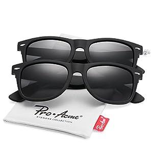 Pro Acme (Pack of 2) Polarized Wayfarer Sunglasses for Men Women (Black Lens +Black Lens)