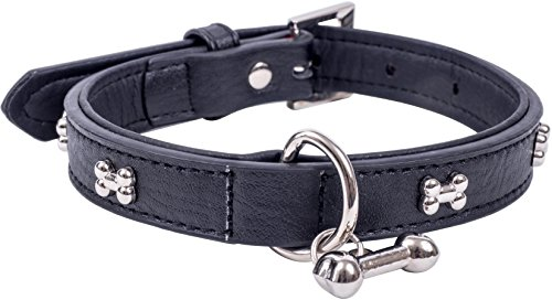 (Petface Bones Dog Collar | For Small Dogs | Perfect for Dog Walking, Training, Jogging | Faux Black Leather - Small )