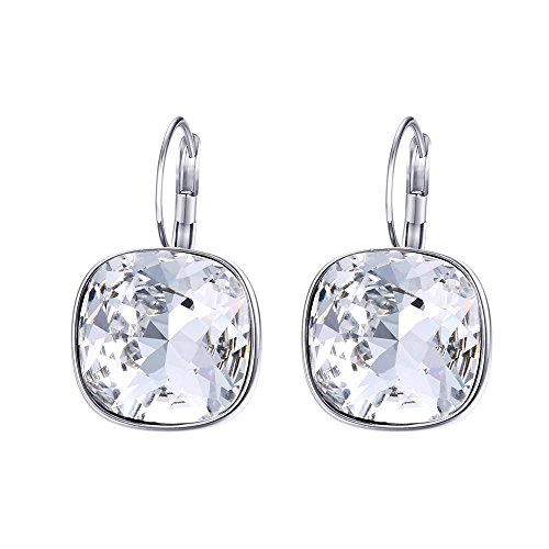 Xuping Christmas Fashion Crystals from Swarovski Huggies Hoop Earrings Boxing Day Women Jewelry Gifts (Crystal White)