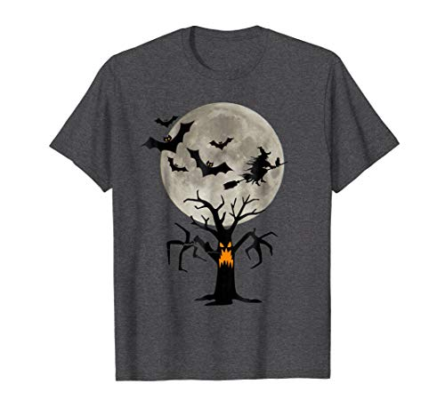 Mens Boo Halloween T-Shirt With Flying Bats And Witch Black Cat 2XL Dark Heather -