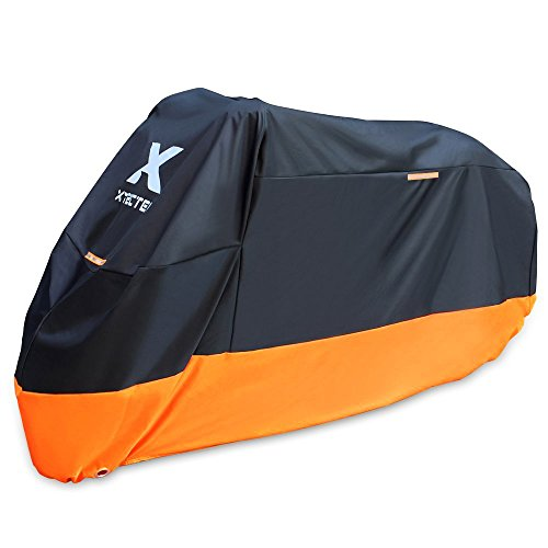 XYZCTEM Motorcycle Cover – All Season Waterproof Outdoor Protection – Precision Fit for 108 inch Tour Bikes, Choppers and Cruisers – Protect Against Dust, Debris, Rain and Weather(XXL,Black& Orange) by XYZCTEM (Image #1)