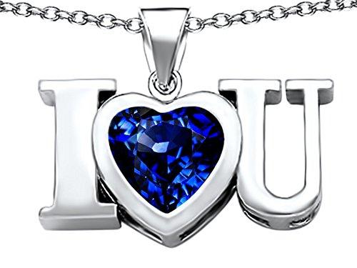 14k Heart Shape Slide (Star K 8mm Heart Shape Created Sapphire I Love You Heart Pendant Necklace Sterling Silver)
