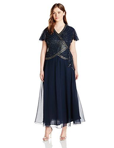 J Kara Womens Plus Size Beaded Flutter Sleeve Dress Mother Of The