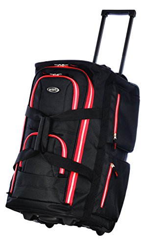 Olympia 8 Pocket Rolling Duffel Bag, Black/Red