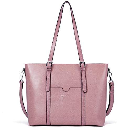 BOSTANTEN Women Leather Laptop Shoulder Handbag Vintage Briefcase 15.6