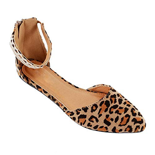 Guilty Heart Womens D'Orsay Pointy Toe Ankle Strap Buckle Comfort Ballerina Ballet Flats Shoes (7.5 M US, Leopard)