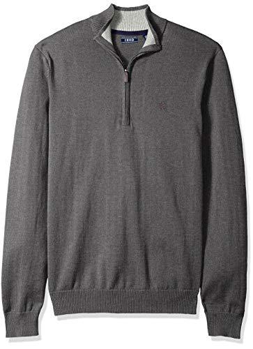 (IZOD Men's Premium Essentials Quarter Zip Solid 12 Gauge Sweater, Carbon, Small)