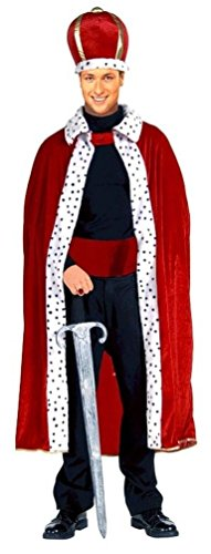 GSG 9 Red King Robe and Crown Adult Costume (Halloween Jester Face Paint)