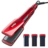 MHU Professional Flat Iron 3 in 1 Hair Crimper Hair Waver and Hair Straightener, Curling Iron with 3 Interchangeable Ceramic Plates Hair Styling Irons Adjustable Temp (1.5 Inch, Red)
