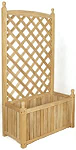 DMC Products Lexington 28-Inch Rectangle Solid Wood Trellis Planter Natural