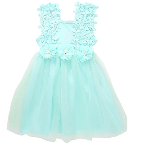 Niyage Toddler Girls Flower Crochet Lace Straps Tutu Dress with Tulle Skirt 12 Months Light Green