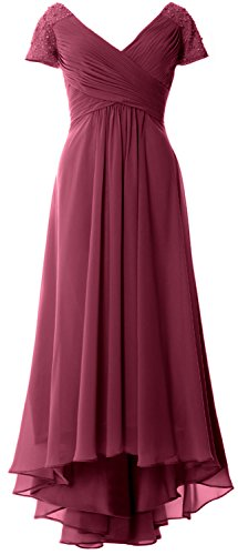Evening Gown Wine Cap Dress Sleeves Women Hi Mother V Neck lo Formal Of Macloth Red Bride XqwIRFUBxq