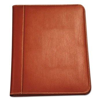 (Contrast Stitch Leather Padfolio, 8 1/2 X 11, Leather, Tan)