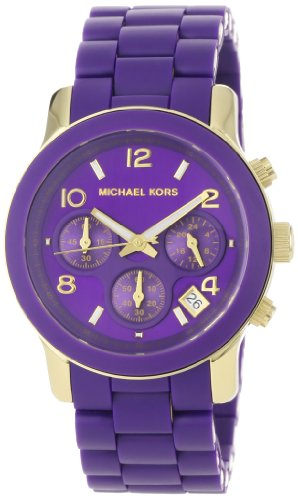 Michael Kors Women's MK5324 Purple Silicone Wrapped Runway Watch