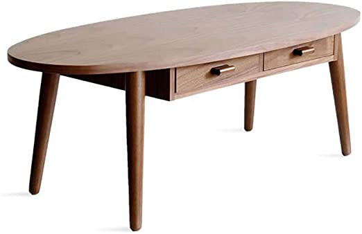 Luude Oval Coffee Table Solid Wood Coffee Table With 2