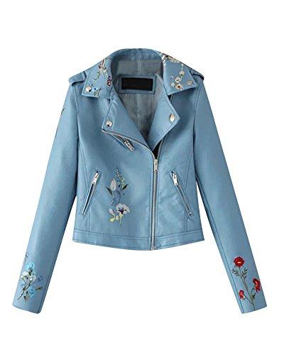 De Imitacion De Bordado Mujeres Motociclista Azul Moto Pu Floral Corta De Chaqueta Cuero Zip 4HUxHwA