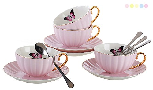Jusalpha Porcelain Tea Cup and Saucer Coffee Cup Set with Saucer and Spoon FD-TCS03 (Set of 4, Pink)
