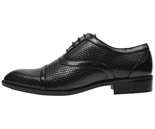 Bolano Mens Black Woven and Smooth Cap Toe Oxford Dress Shoe With Black Sole: Style Weaver-000 QjIizYe3