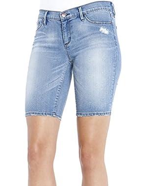 Jessica Simpson Womens Maxwell Bermuda Denim Shorts Blue