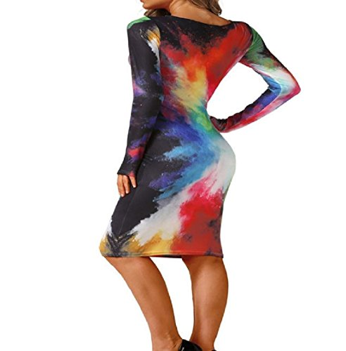 Women Dress Printing Round Sleeve Bodycon Pencil Long Coolred Neck Pattern1 Cocktail dqPwTBa