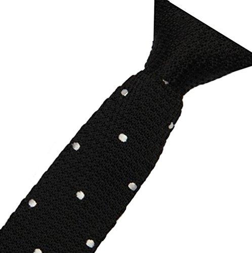 Cravatemince pour homme Noir à point Blanc bout carré de 6cm