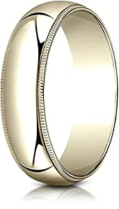 Benchmark 18K Yellow Gold 6mm Slightly Domed Traditional Oval Wedding Band Ring with Milgrain, Size 13.25