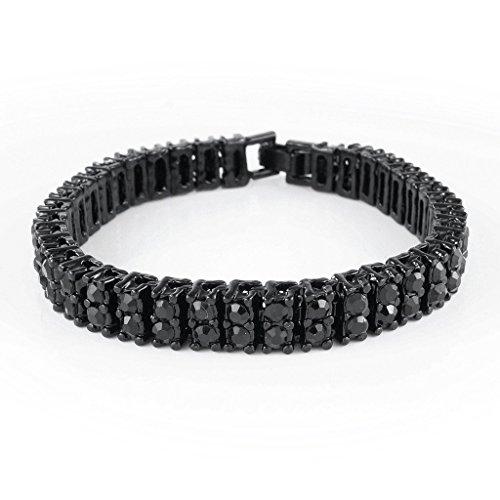 Two Row Diamond Bracelet (14K Black Gold Plated Gold 2 ROW Diamond Iced Out Bracelet (7)