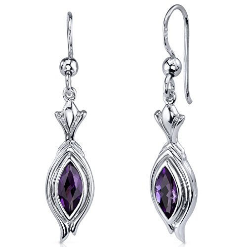 Gold Marquise Amethyst Earrings - 4