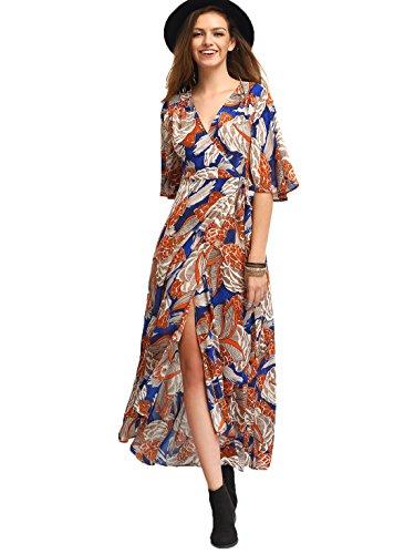 Summer Short Sleeve Chiffon Maxi Dress (Black) - 9
