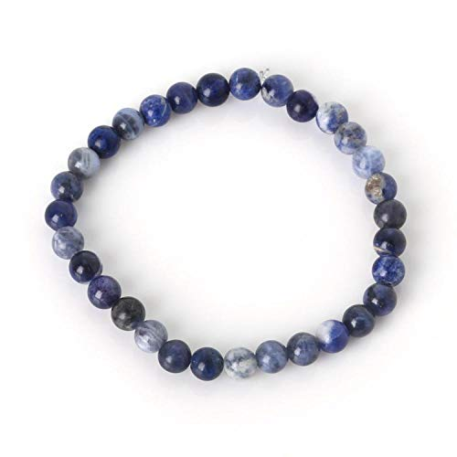 Fashion 6Mm Natural Stone Bracelet For Women Men Eye Amethysts Turquoise Agate Beaded Stretch Bracelets Bangles,Blue Stripe