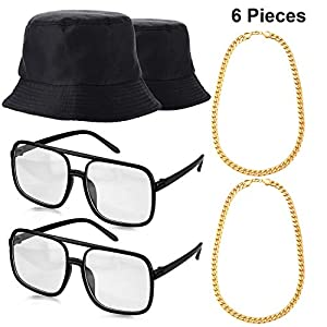 Norme 6 Pieces 80's 90's Hip Hop Costume Kit, Bucket Hat Gold Chains and DJ Sunglasses