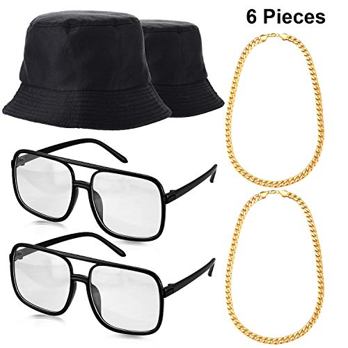Norme 6 Pieces 80's 90's Hip Hop Costume Kit, Bucket Hat Gold Chains and DJ Sunglasses -