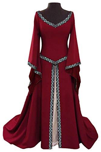 baycon Womens Renaissance Medieval Costume Dress Gothic Victorian Fancy Dress Red Medium