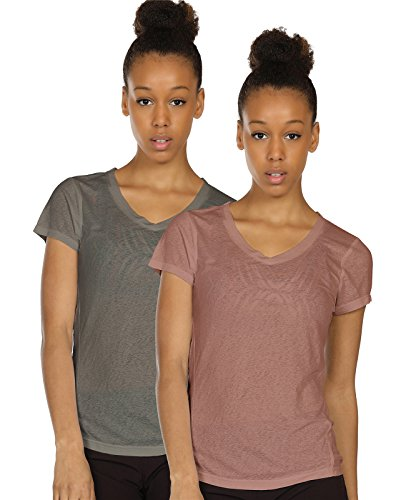 icyzone Activewear Fitness Yoga Tops Workout V Neck Open Back T-Shirts for Women(S,Grey/Mocha)