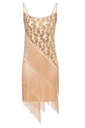 Angvns Women's Sequin Paisley Pattern Tiered Tassel Gatsby Flapper Dress (XL, Beige) - Mini Paisley Pattern